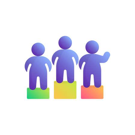 Leadership, teamwork flat icon, vector sign, Winners on podium colorful pictogram isolated on white. Motivation symbol, logo illustration. Flat style design Stock Illustratie