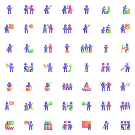 Teamwork people elements collection flat icons set, Colorful symbols pack contains - Business agreement handshake, Group of people crowd, Training, Presentation. Vector illustration. Flat style design