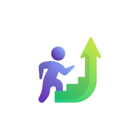 Up stair way flat icon, vector sign, Career ladder up colorful pictogram isolated on white. Success, achievement symbol, logo illustration. Flat style design Çizim