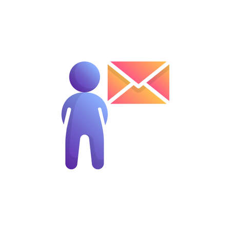 Man with envelope flat icon, User mail message vector sign, Email Marketing colorful pictogram isolated on white. Symbol, logo illustration. Flat style design Фото со стока - 130161656