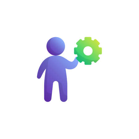 Man and gear flat icon, Developer vector sign, Management colorful pictogram isolated on white. Symbol, logo illustration. Flat style design