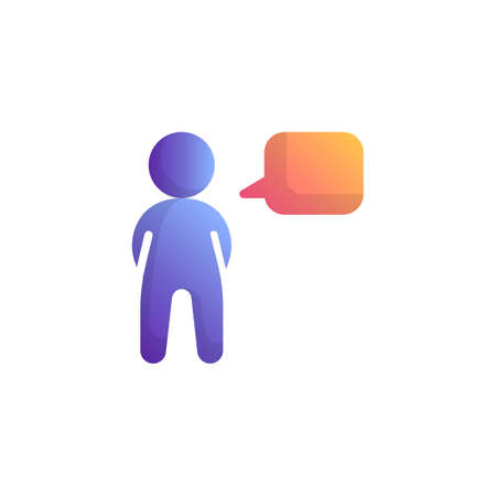 Person speak flat icon, vector sign, Man with speech bubble colorful pictogram isolated on white. Symbol, logo illustration. Flat style design Фото со стока - 130161671