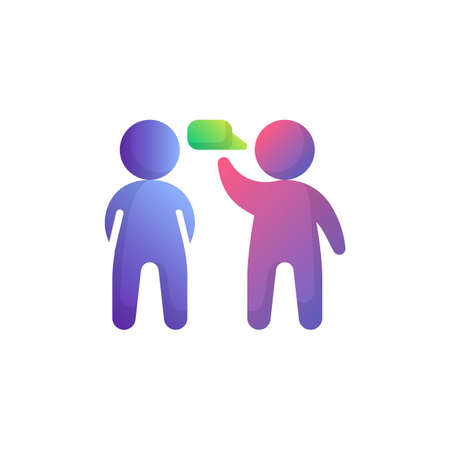 Two man talking flat icon, Speaking people vector sign, People and Speech bubble colorful pictogram isolated on white. Communication symbol, logo illustration. Flat style design Иллюстрация