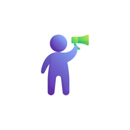 Announcement, speech flat icon, vector sign, Man with megaphone colorful pictogram isolated on white. Business Advertisement symbol, logo illustration. Flat style design Çizim
