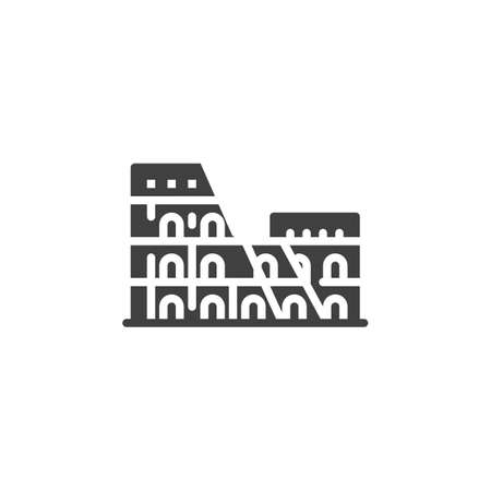 Rome famous landmarks vector icon. filled flat sign for mobile concept and web design. Italy cities buildings travel glyph icon. Symbol, logo illustration. Vector graphics Иллюстрация