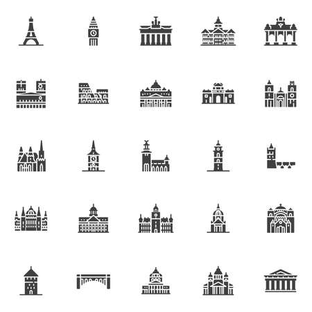 European cities landmarks vector icons set, modern solid symbol collection, filled style pictogram pack. Signs, logo illustration. Set includes icons as Eiffel tower, Big Ben Clock-tower, Brandenburg Illustration