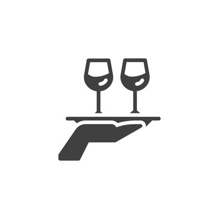 Hand hold tray with wine glasses vector icon. filled flat sign for mobile concept and web design. Food and drinks delivery glyph icon. Restaurant service symbol, logo illustration. Vector graphics