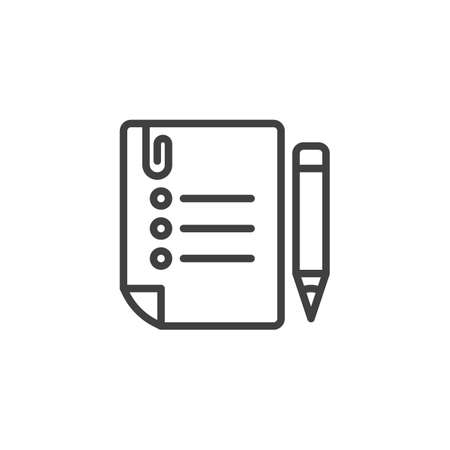 To do list line icon. linear style sign for mobile concept and web design. Task list paper with pencil outline vector icon. Symbol, logo illustration. Vector graphics