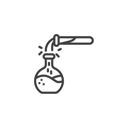 Chemical reaction test tube line icon. linear style sign for mobile concept and web design. Laboratory flask experiment outline vector icon. Chemistry symbol, logo illustration. Vector graphics