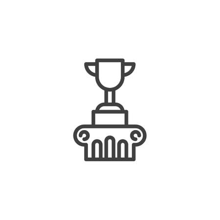 First place winner line icon. linear style sign for mobile concept and web design. Award trophy champions cup outline vector icon. Symbol, logo illustration. Vector graphics Ilustrace