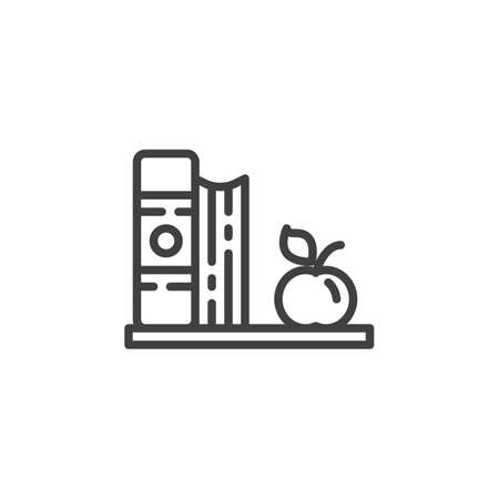 Books and apple on a shelf line icon. linear style sign for mobile concept and web design. Book shelf and apple outline vector icon. Knowledge symbol, logo illustration. Vector graphics 向量圖像