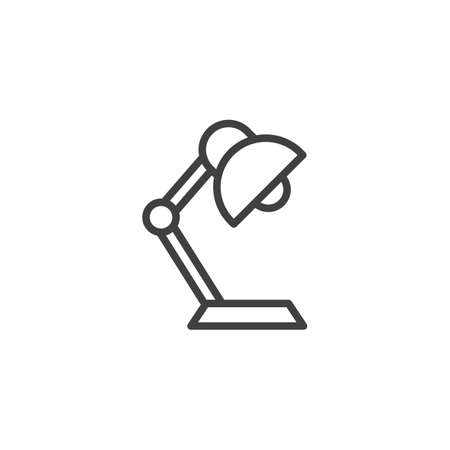 Desk lamp line icon. linear style sign for mobile concept and web design. Flexible lamp outline vector icon. Symbol, logo illustration. Vector graphics