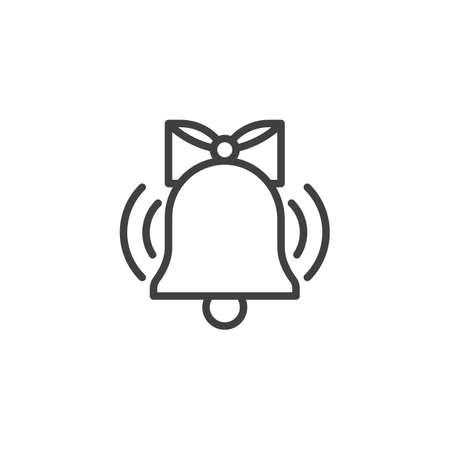 Ringing bell line icon. linear style sign for mobile concept and web design. Bell with bow outline vector icon. Symbol, logo illustration. Vector graphics Imagens - 130162705