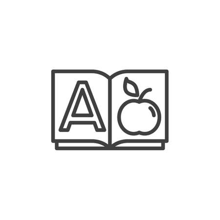 Alphabet book A page line icon. linear style sign for mobile concept and web design. A letter apple outline vector icon. Education symbol, logo illustration. Vector graphics Foto de archivo - 130162731