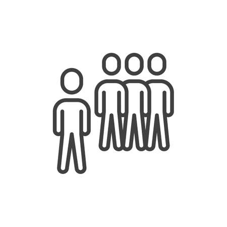 Team group leader line icon. Teamwork, staff linear style sign for mobile concept and web design. Group of people outline vector icon. Symbol, logo illustration. Vector graphics