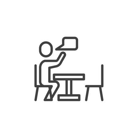 Talking man at table line icon. linear style sign for mobile concept and web design. Man sitting at the table and speech bubble outline vector icon. Conversation symbol, logo illustration. Illusztráció