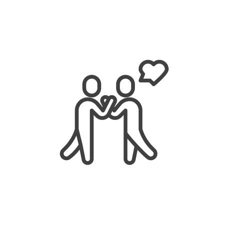 Lovers meeting line icon. linear style sign for mobile concept and web design. Couple and heart speech outline vector icon. Symbol, logo illustration. Vector graphics