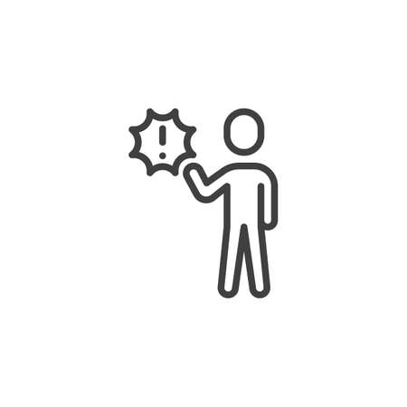 Man with a bubble and a exclamation mark line icon. linear style sign for mobile concept and web design. Customer service outline vector icon. Symbol, logo illustration. Vector graphics