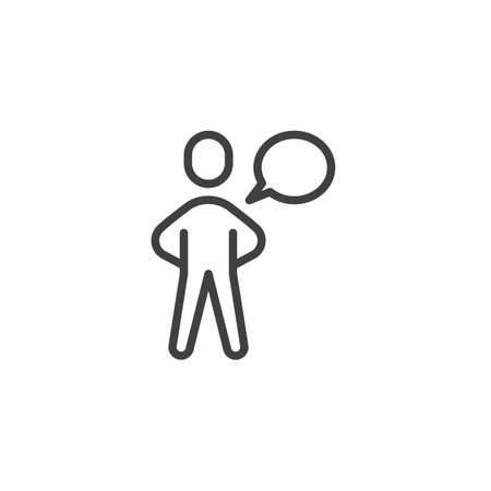 Conversation line icon. Talking man linear style sign for mobile concept and web design. Man with Speech Bubble outline vector icon. Symbol, logo illustration. Vector graphics Фото со стока - 130162970