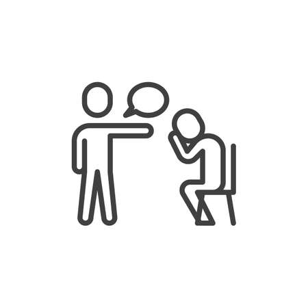 Boss dismisses employee line icon. linear style sign for mobile concept and web design. Manager blaming an employee, fired sad man crying outline vector icon. Symbol logo illustration. Vector graphics