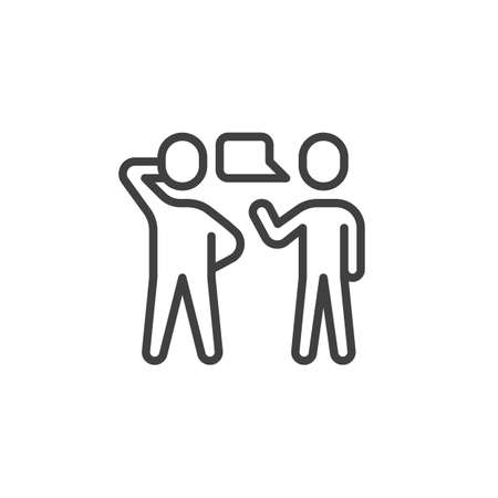 Two people talking line icon. Conversation linear style sign for mobile concept and web design. Speaking people outline vector icon. Symbol, logo illustration. Vector graphics Ilustração