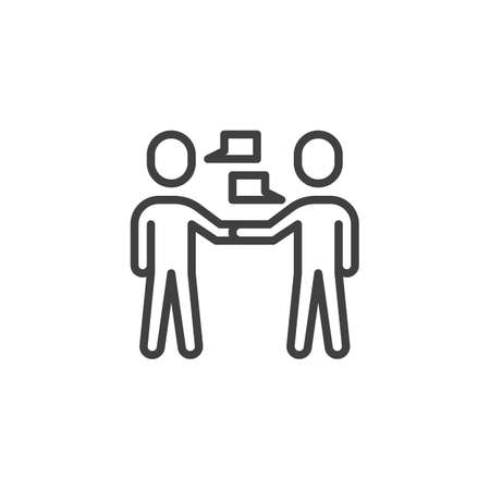Two people talking line icon. Friends meeting linear style sign for mobile concept and web design. People talk outline vector icon. Symbol, logo illustration. Vector graphics