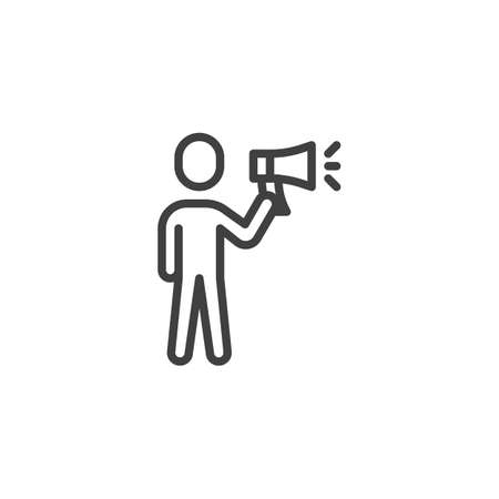 Man with megaphone line icon. Human speaking linear style sign for mobile concept and web design. Megaphone, announcement, speaker outline vector icon. Symbol, logo illustration. Vector graphics