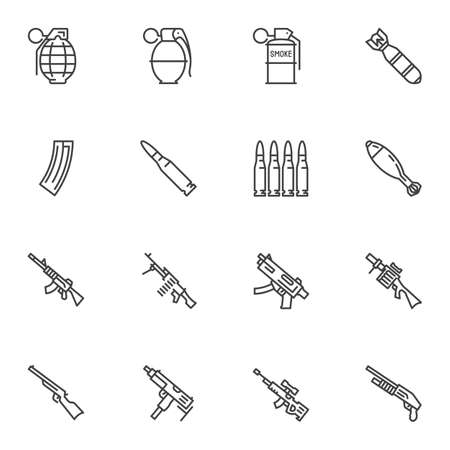 Gun weapon line icons set. linear style symbols collection outline signs pack. vector graphics. Set includes icons as fragmentation grenade, bullets, air bomb, smoke grenade, machine gun, sniper rifle 일러스트
