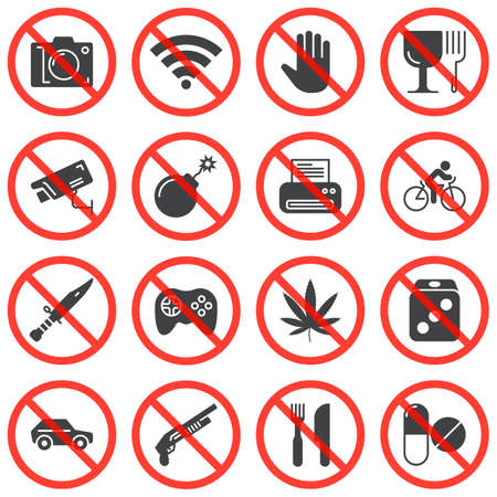 Universal prohibition signs vector icons set, modern solid symbol collection, filled style pictogram pack. Signs, logo illustration. Set includes icons as no photo, do not touch, stop drugs, fragile Logo