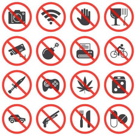 Uniwersalne znaki zakazu wektor zestaw ikon, nowoczesna kolekcja symboli stałych, pakiet wypełniony styl piktogramów. Znaki, ilustracja logo. Zestaw zawiera ikony bez zdjęcia, nie dotykaj, zatrzymaj narkotyki, kruche Logo