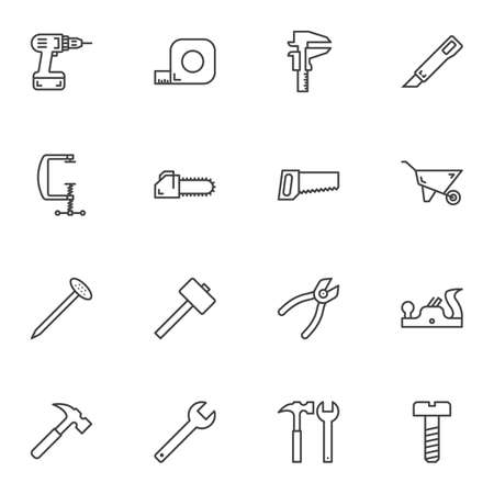 Reparaturwerkzeuglinie Icons Set. Sammlung von Symbolen im linearen Stil, Packung mit Umrisszeichen. Vektorgrafiken. Das Set enthält Symbole wie Bohrmaschine, Schraubendreher, Maßband, Zange, Hammer, Nagel, Säge, Messer