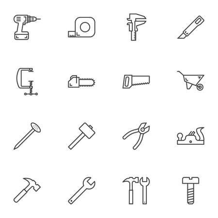 Zestaw ikon linii narzędzia naprawy. kolekcja symboli w stylu liniowym, opakowanie znaków konspektu. Grafika wektorowa. Zestaw zawiera ikony takie jak wiertarka elektryczna, śrubokręt, taśma miernicza, szczypce, młotek, gwóźdź, piła, nóż