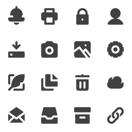 Ensemble d'icônes vectorielles standard universelles minimales, collection de symboles solides modernes, pack de pictogrammes de style rempli. Signes, illustration de logo.
