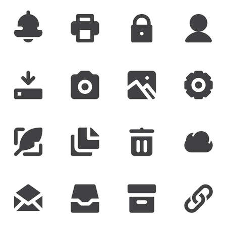 Standard Universal Minimal vector icons set, modern solid symbol collection, filled style pictogram pack. Signs, logo illustration.