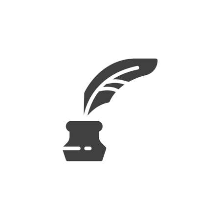 Quill And Ink Bottle vector icon. filled flat sign for mobile concept and web design. Feather Ink glyph icon. Symbol, logo illustration. Vector graphics  イラスト・ベクター素材