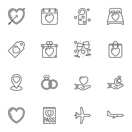 Love line icons set. linear style symbols collection outline signs pack. vector graphics. Set includes icons as cupid arrow and heart, wedding rings, gift box, wine glasses, Honeymoon Travel, calendar