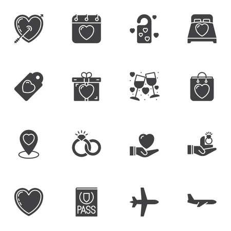 Conjunto de iconos de vector de amor, paquete de pictogramas de estilo lleno de colección de símbolo sólido moderno. Ilustración del logo de signos. El juego incluye iconos como flecha y corazón de Cupido, anillos de boda, caja de regalo, vino, viajes de luna de miel