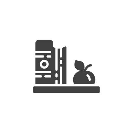 Books and apple on a shelf vector icon. filled flat sign for mobile concept and web design. Book shelf and apple glyph icon. Knowledge symbol, logo illustration. Vector graphics Zdjęcie Seryjne - 130172491