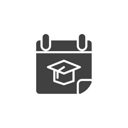 Graduation date calendar vector icon. filled flat sign for mobile concept and web design. Calendar page with academic hat glyph icon. Symbol, logo illustration. Vector graphics Zdjęcie Seryjne - 130172493