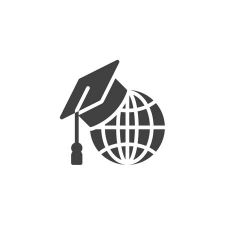 International education vector icon. filled flat sign for mobile concept and web design. World globe with graduation hat glyph icon. Symbol, logo illustration. Vector graphics Ilustracja