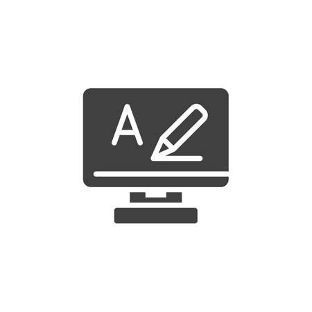 Online video lesson vector icon. filled flat sign for mobile concept and web design. Computer monitor with pen, alphabet writing glyph icon. Symbol, logo illustration. Vector graphics Ilustracja