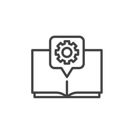 Gear Book line icon. Technical support, guide manual linear style sign for mobile concept and web design. Book with cogwheel outline vector icon. Symbol, logo illustration. Vector graphics Zdjęcie Seryjne - 130172521