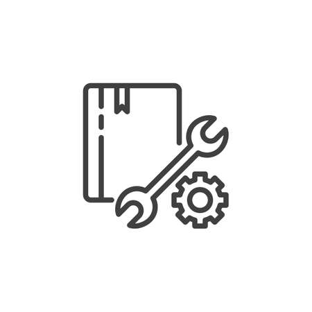 Support, manual book line icon. Technical service linear style sign for mobile concept and web design. Book with settings gear and wrench outline vector icon. Symbol logo illustration. Vector graphics