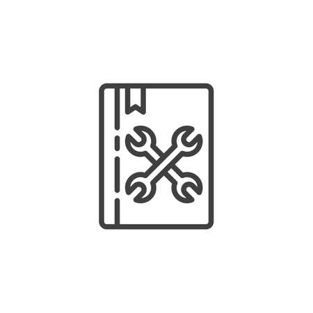 Manual book line icon. Maintenance instructions linear style sign for mobile concept and web design. Book with wrench outline vector icon. Support symbol, logo illustration. Vector graphics