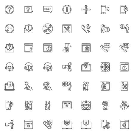 Technical support line icons set. Customer service linear style symbols collection, outline signs pack. vector graphics. Set includes icons as Question mark, Help message, Information sign, Telephone Zdjęcie Seryjne - 130172562