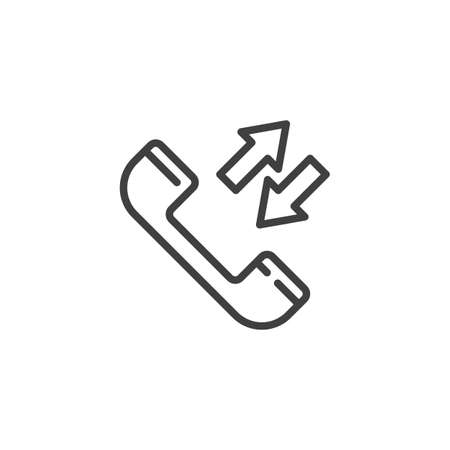 Phone call line icon. Incoming and outgoing calls linear style sign for mobile concept and web design. Telephone receiver outline vector icon. Symbol, logo illustration. Vector graphics