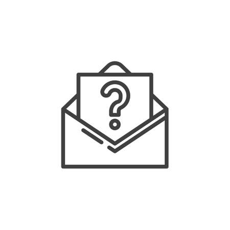 Request email line icon. linear style sign for mobile concept and web design. Envelope with question mark outline vector icon. Support symbol, logo illustration. Vector graphics Ilustracja