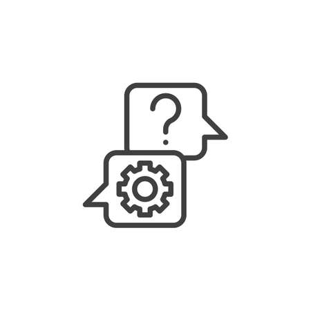 FAQ service line icon. Support speech bubble linear style sign for mobile concept and web design. Speech bubbles with gear and question outline vector icon. Symbol, logo illustration. Vector graphics Zdjęcie Seryjne - 130172568