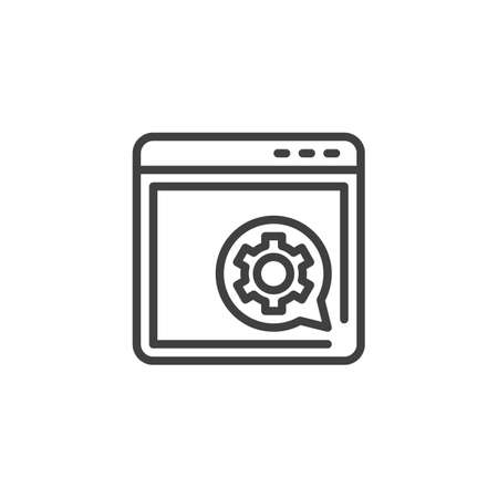 Browser setting line icon. Support page linear style sign for mobile concept and web design. Web site optimization outline vector icon. Symbol, logo illustration. Vector graphics Ilustracja