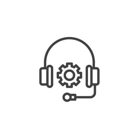 Technical Support line icon. Headphones and gear linear style sign for mobile concept and web design. Customer service outline vector icon. Symbol, logo illustration. Vector graphics